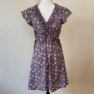 American Eagle Gray Ruffle V Neck Dress